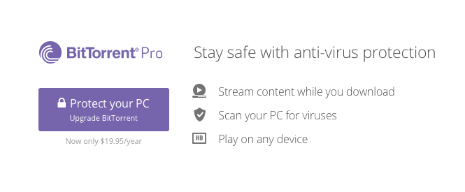 Get anti-virus protection from BitTorrent Pro